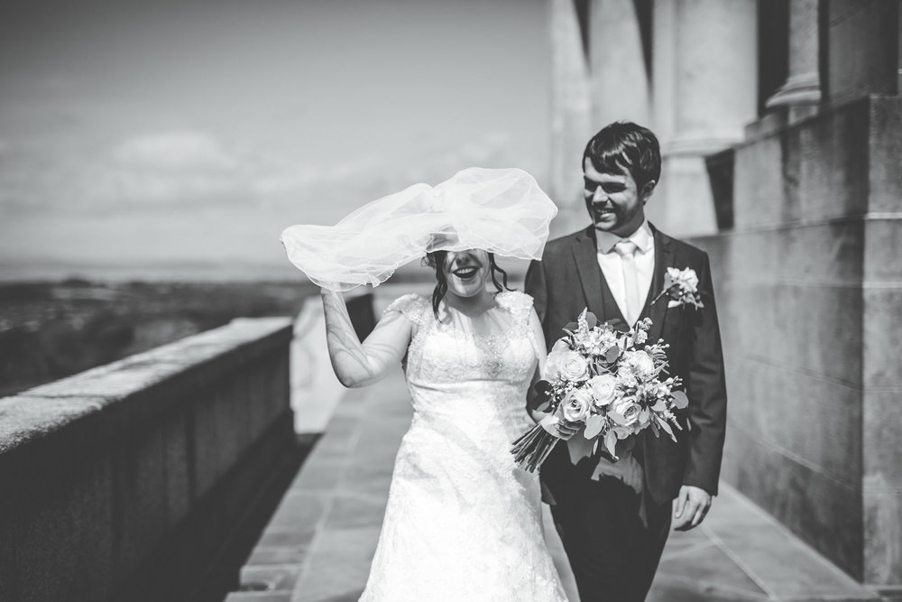 Black and white photograph of the bride and groom, Natural photography, Documentary styled photos, Vintage wedding.