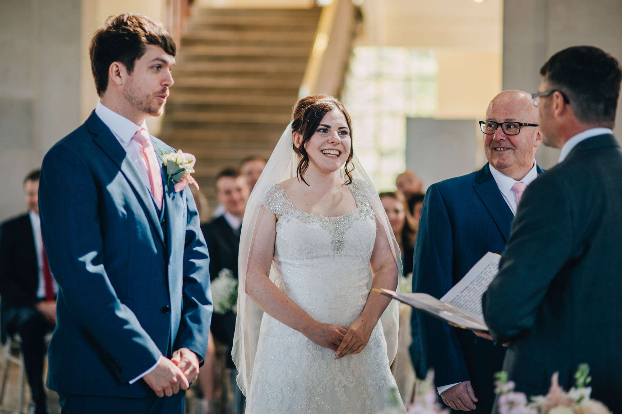 bride smiles at Ashton Memorial wedding