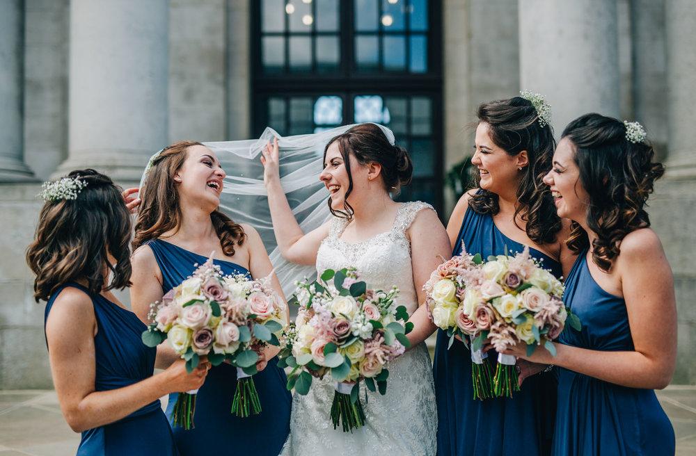 The bride and bridesmaids at Ashton Memorial, Creative wedding photography Lancaster, Lancashire photographer.
