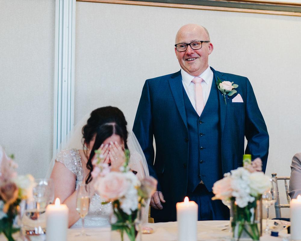 Father of the bride wedding speech, Creative photography, Relaxed wedding at Ashton Memorial.