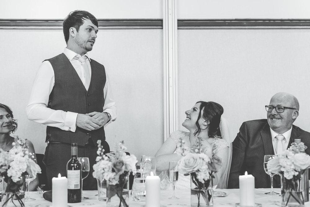 Groom saying his wedding speech, Documentary wedding photography ,Lancashire wedding photographer, Vintage wedding day at The Ashton Memorial.