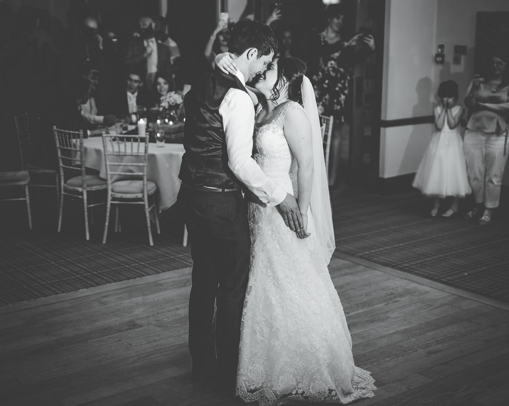 Bride and groom first dance on the dance floor, Creative photography, Black and white photography, Wedding photographer from Lancashire.