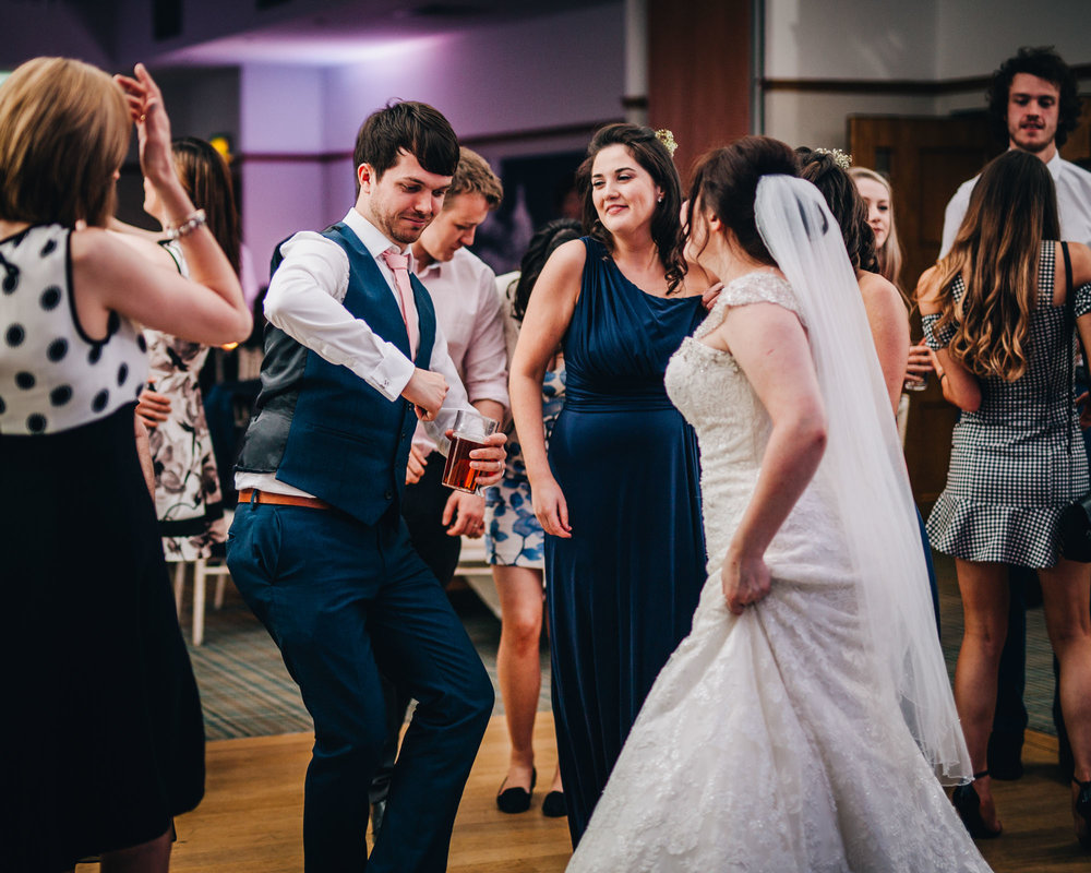 Dancing from the bride and groom, Relaxed calm wedding at Ashton Memorial, Creative wedding photography.