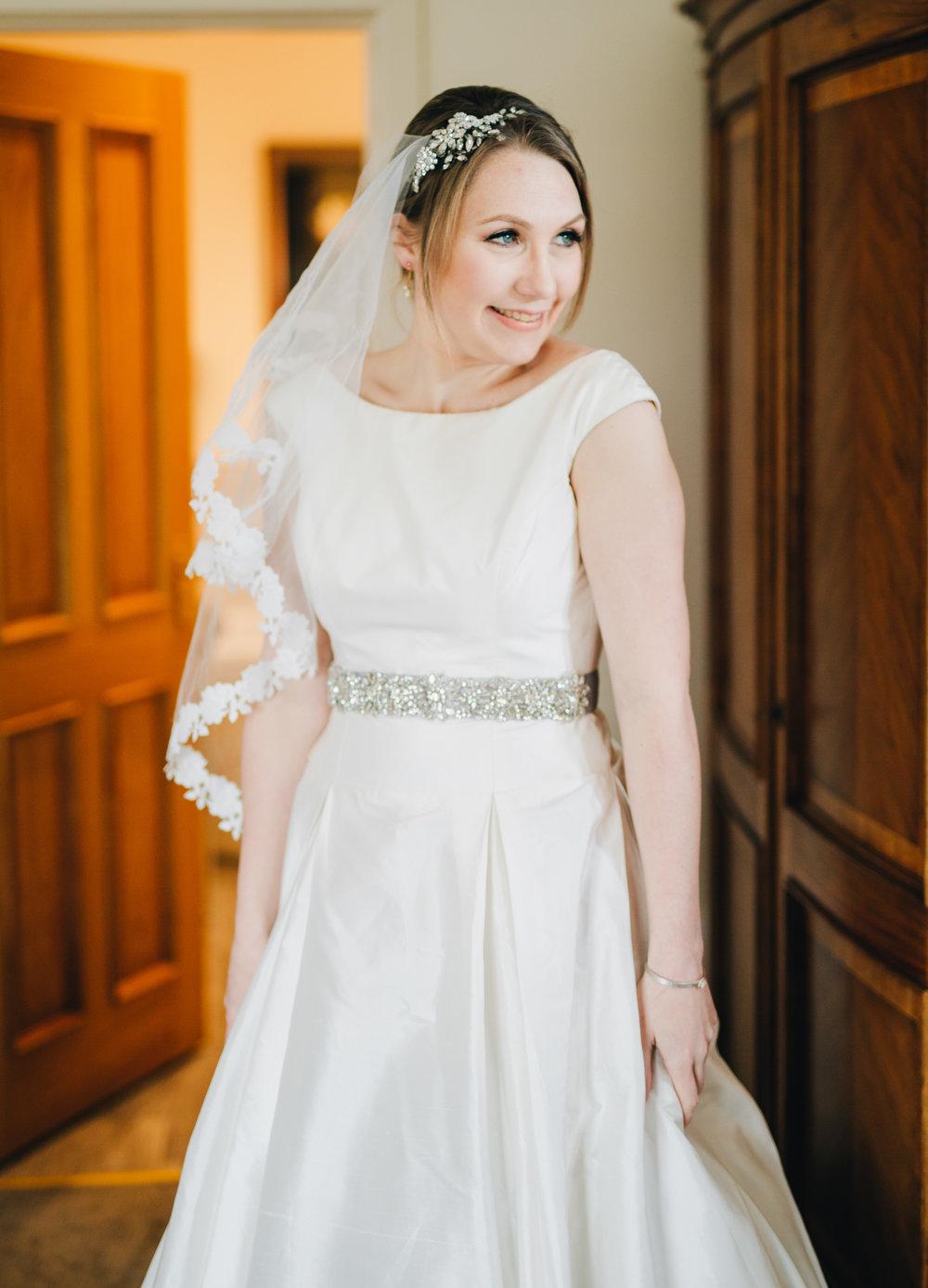 One of the brides, same sex wedding, Pastel themed wedding, Lake District wedding venue.