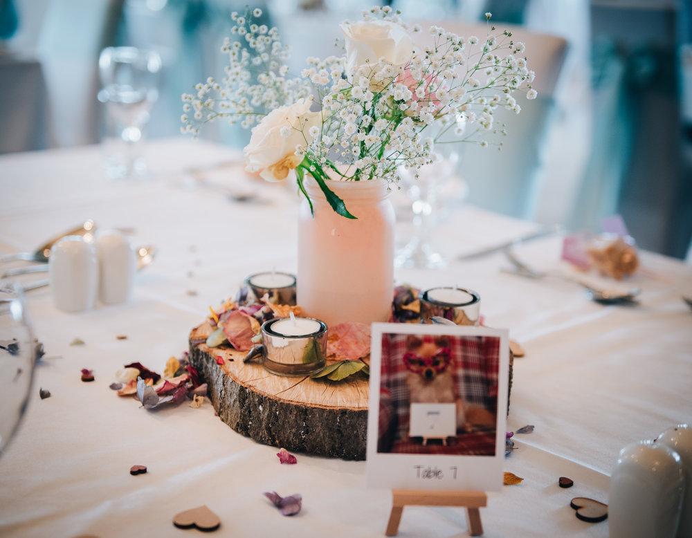 Pastel table decorations, lake district wedding, lancashire wedding photographer.