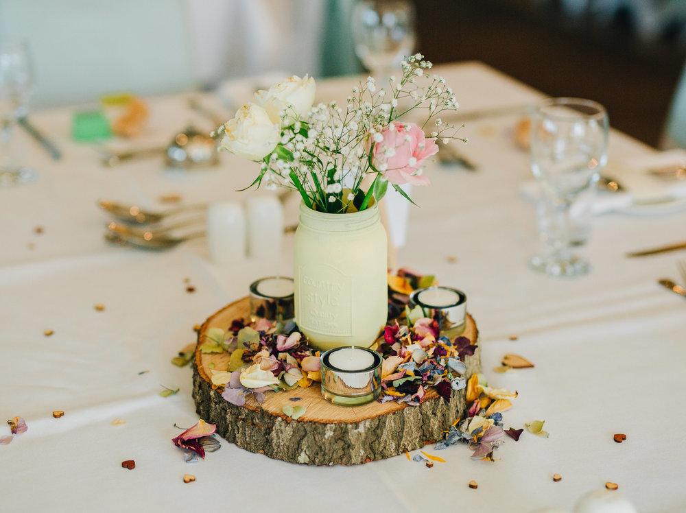 Lake district wedding, pastel styled table decorations, Lancashire wedding photographer.