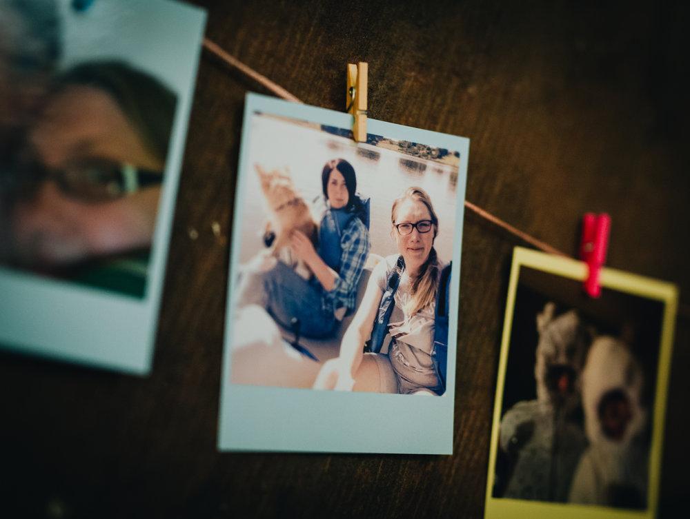 Polaroid photographs of the brides, same sex wedding, pastel styled wedding, documentary themed photography.