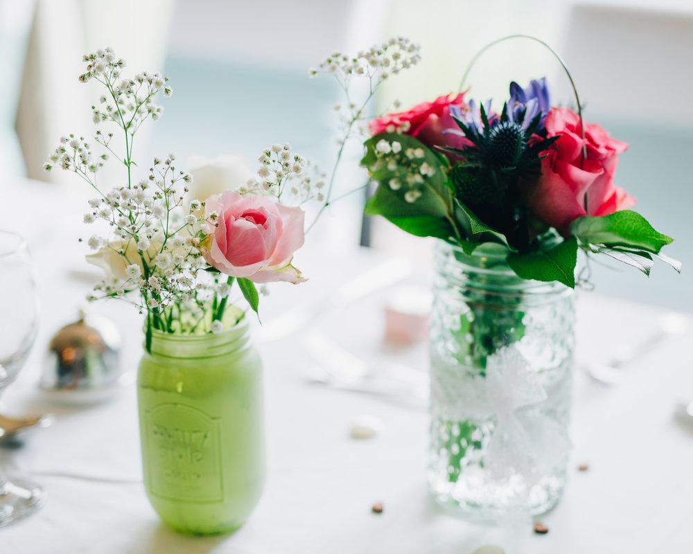 Wedding flower, table decorations, colour wedding, pastel themed wedding.