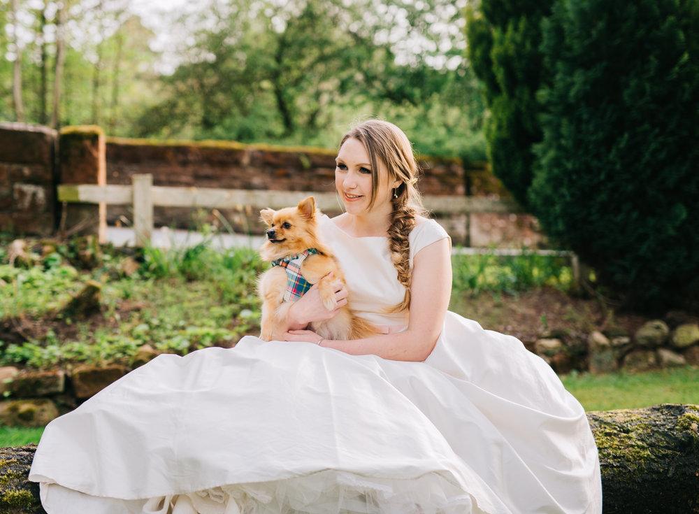 The bride and her dog, documentary wedding photography, same sex wedding, lake district wedding.