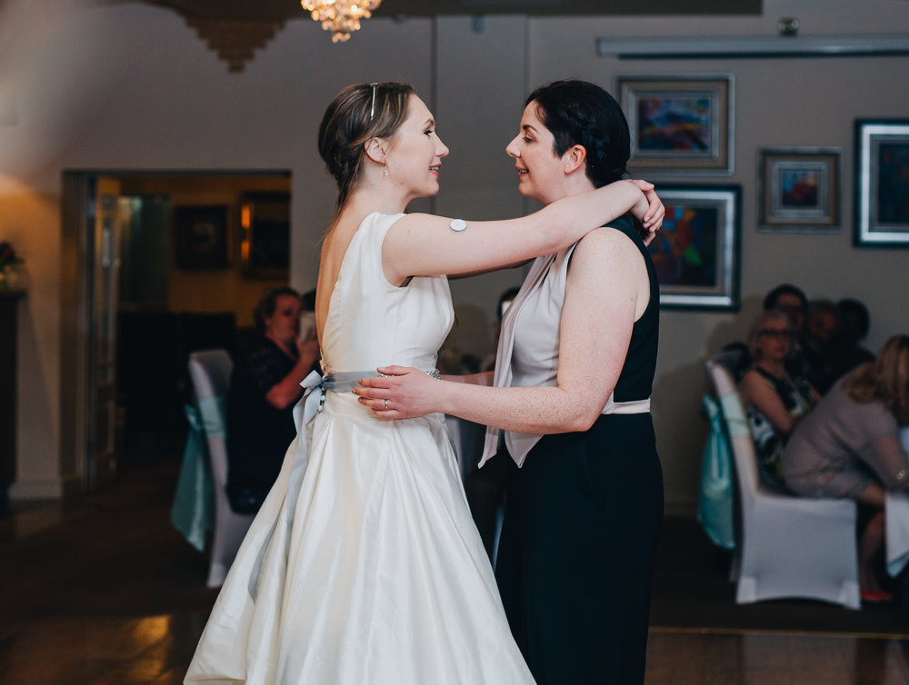 The brides first dance, documentary wedding photographer from Lancashire, relaxed wedding photography, same sex wedding.
