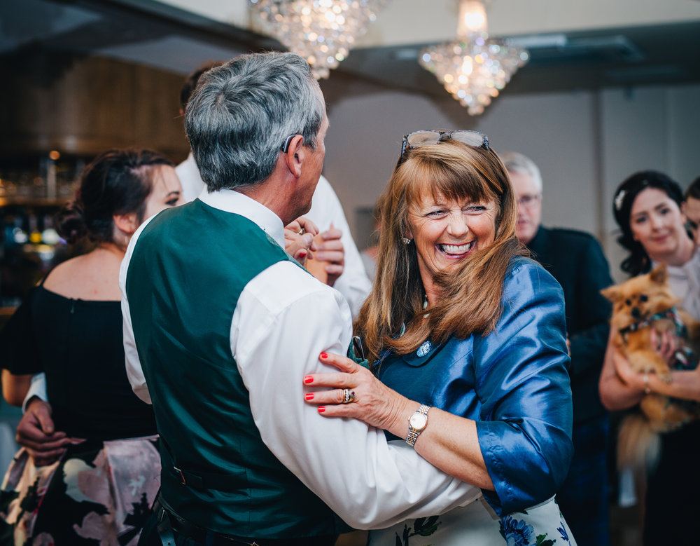 wedding guests on the dance floor, documentary wedding photography, relaxed wedding photographer from Lancashire.