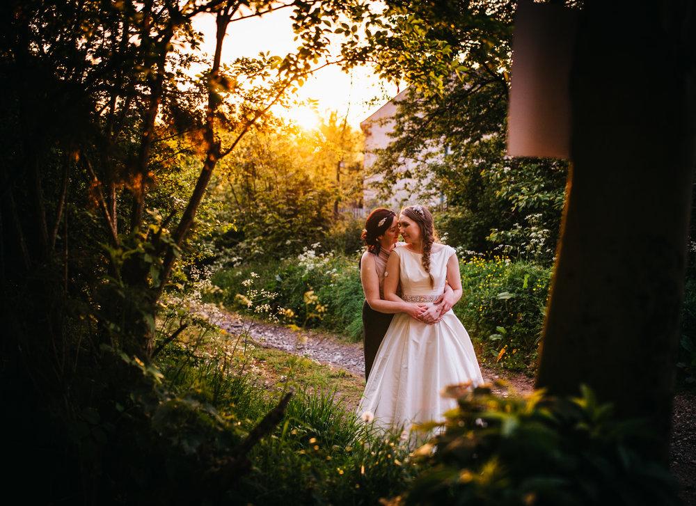 The brides in the sunset, same sex wedding, lake district wedding, lancashire photographer.