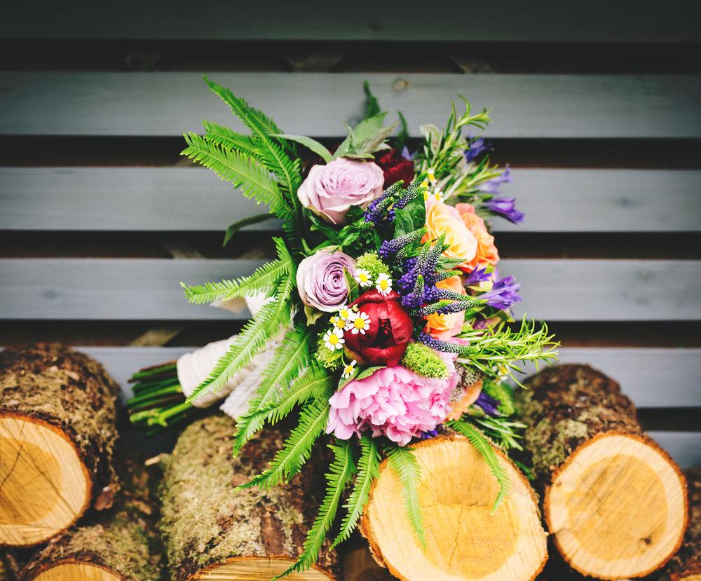 Wedding flowers, quirky wedding at Wellbeing farm.