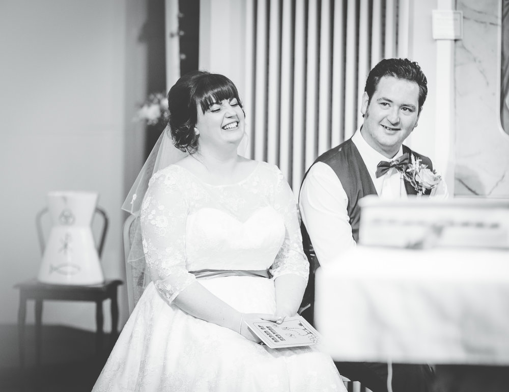 Black and white photograph of the bride and groom, Colourful creative wedding.