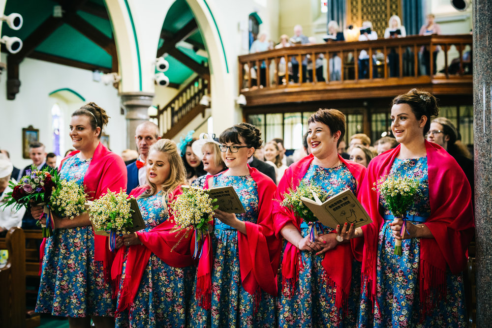 All the bridesmaids together, Documentary photographer in lancashire.