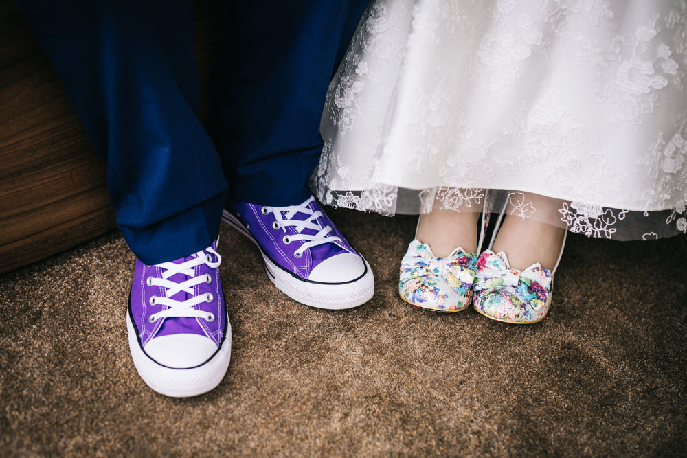 Wedding shoes of the bride and groom, Quirky wedding.