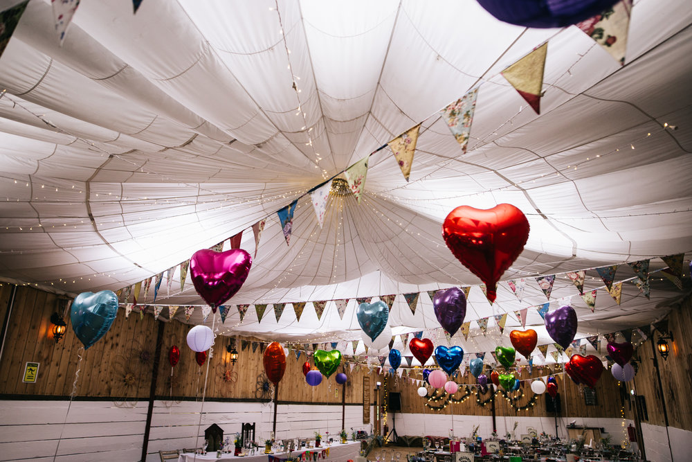 Colourful wedding balloons at the Wellbeing Farm, Quirky DIY Wedding.
