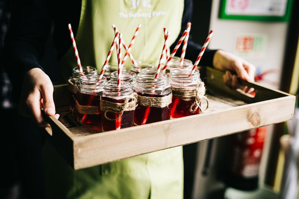 Wedding drinks, wellbeing farm for a wedding.
