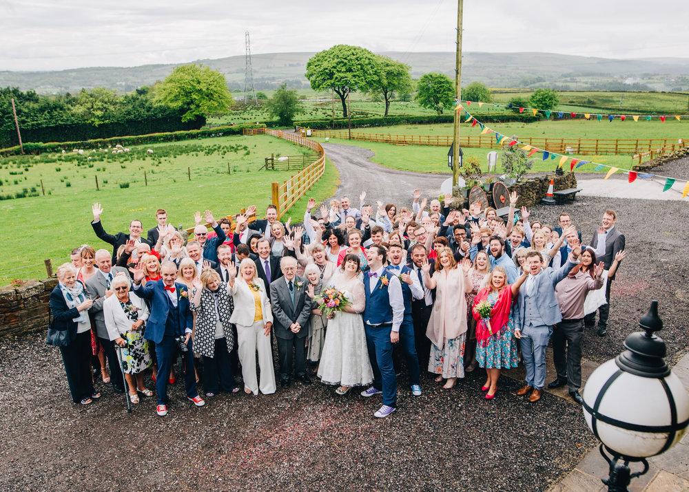 Wedding group shot at Wellbeing Farm.