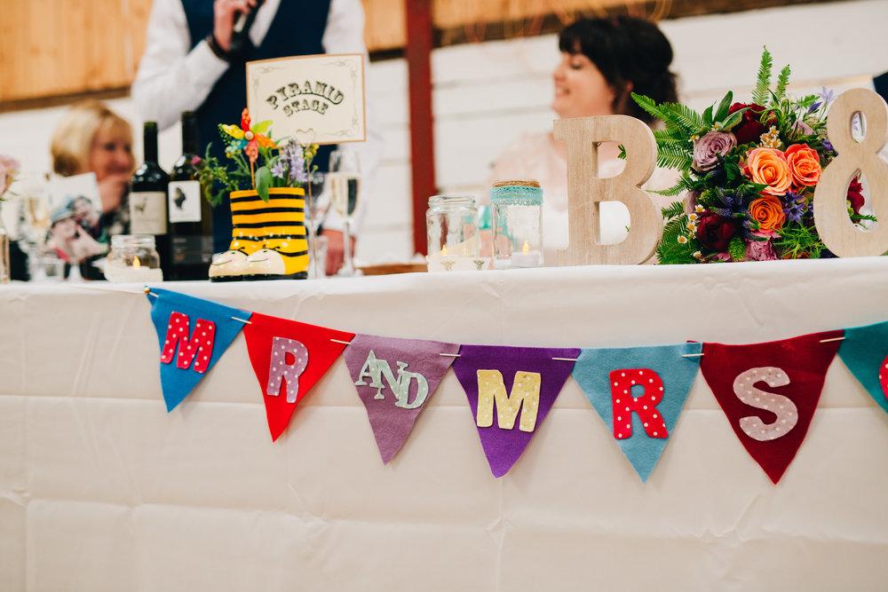 DIY Wedding, hand-made wedding decorations, fun colourful wedding.