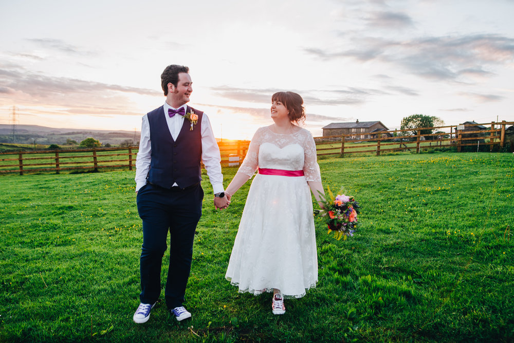 The bride and groom at Wellbeing Farm.
