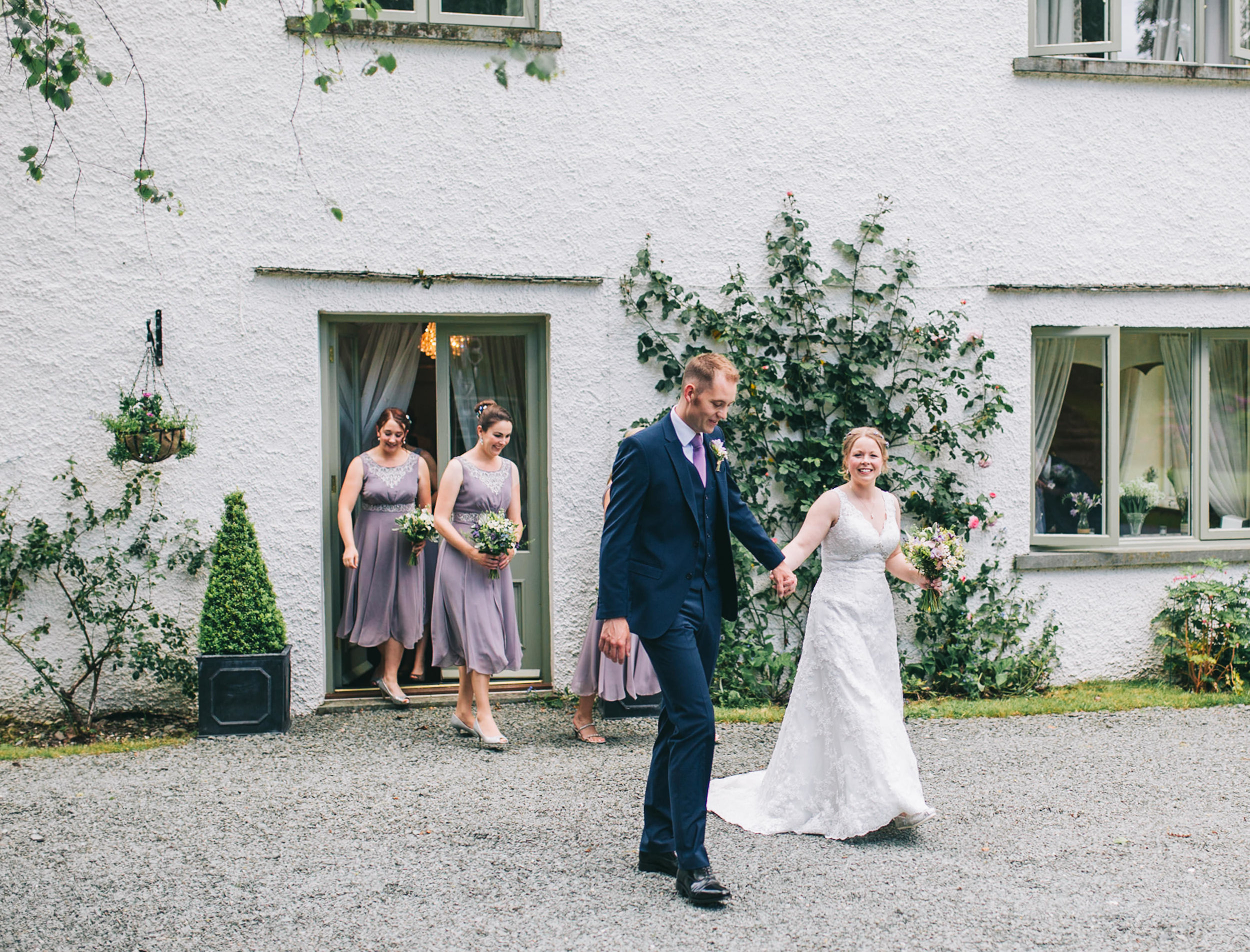 leaving the wedding ceremony at Cote How Rydal