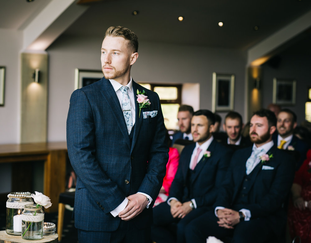 groom waits nervously for bride to arrive - lancashire wedding photography