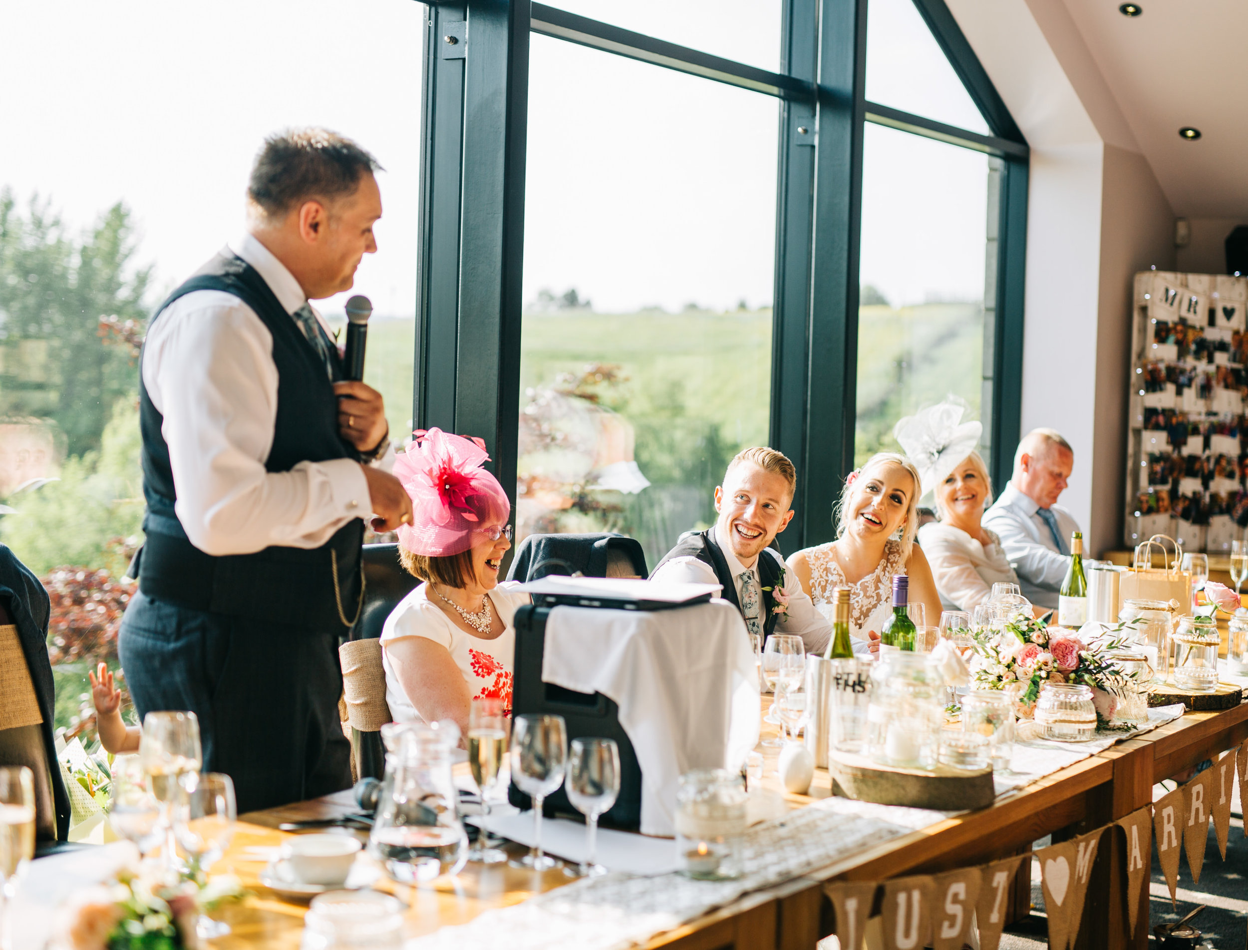 speeches at Fisherman's retreat wedding