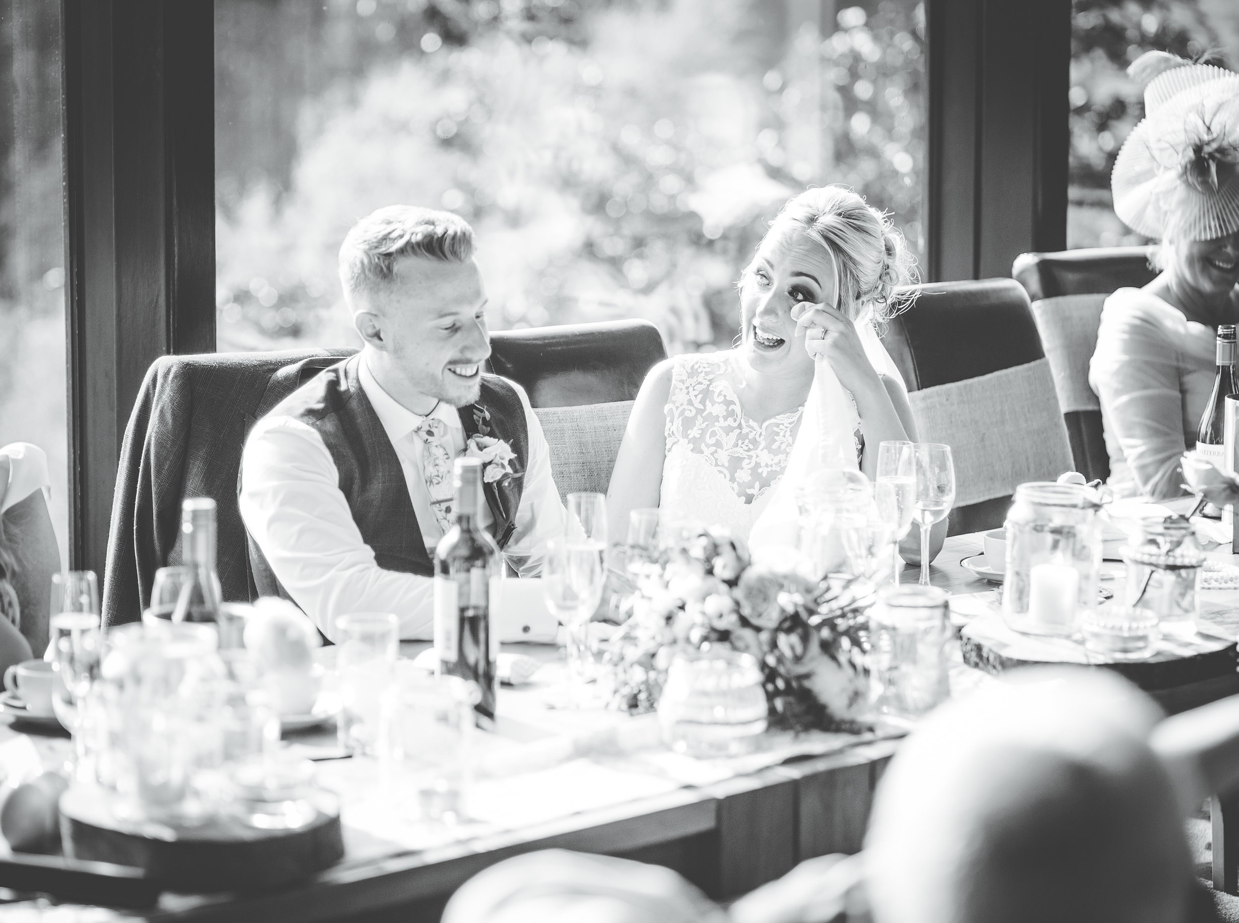documentary wedding photograph Lancashire - crying during the speeches