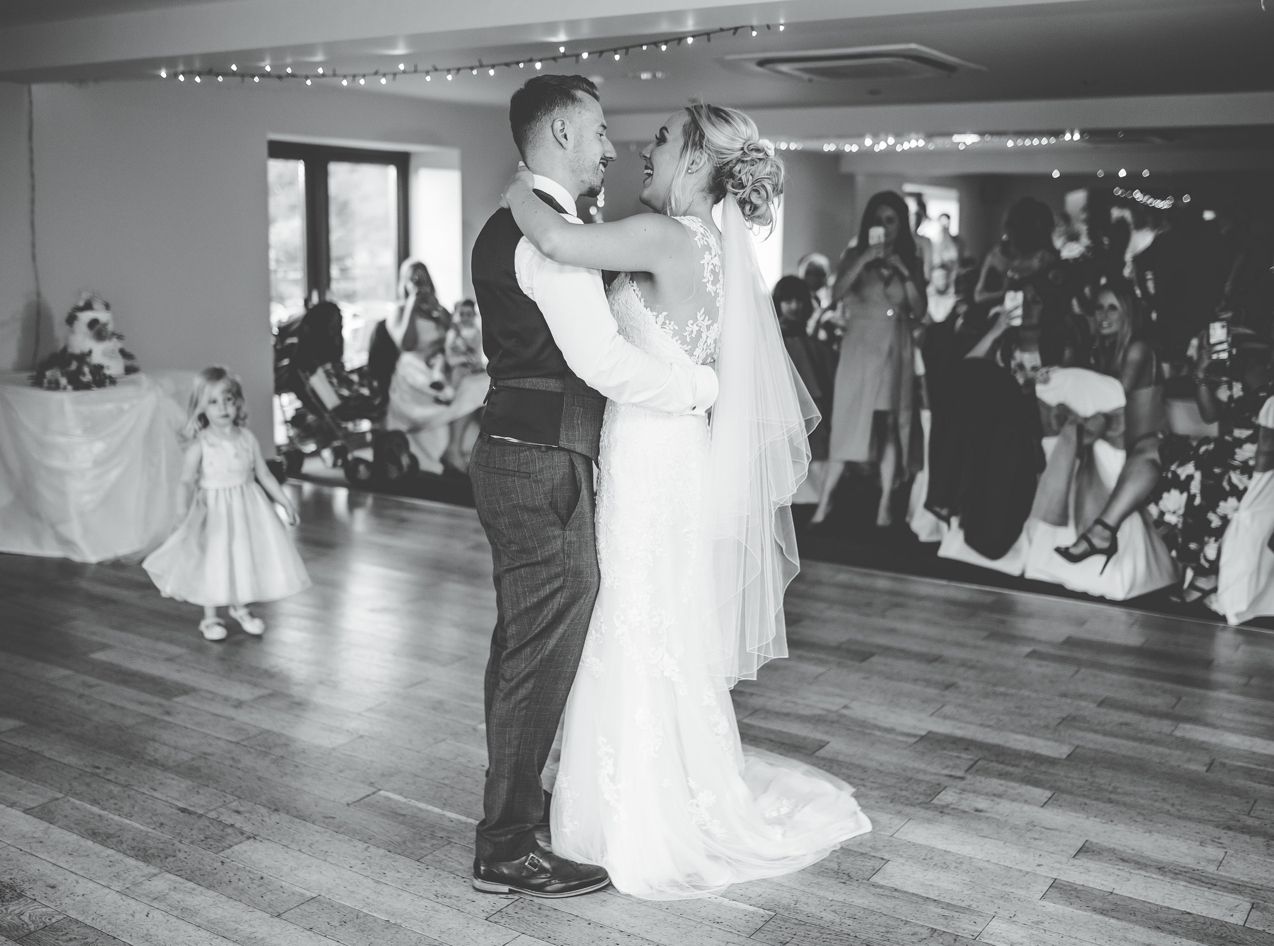 black and white first dance picture