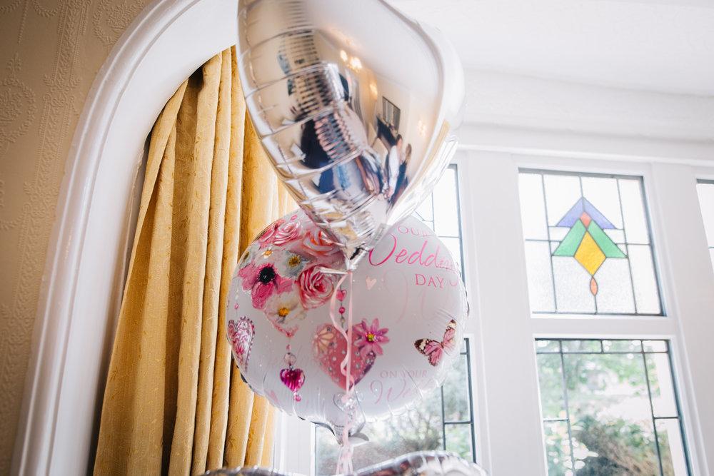 Wedding day balloons, wedding decorations, pastel themed wedding.