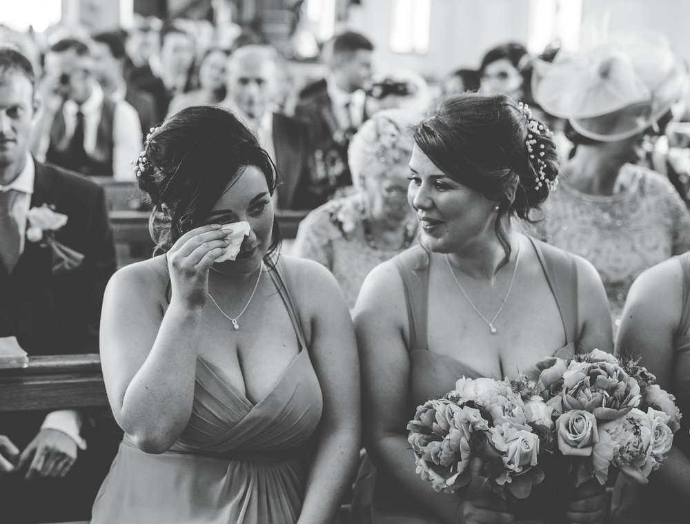 Tears from a few bridesmaids, Black and white photography, Wedding at A Great Hall at Mains.