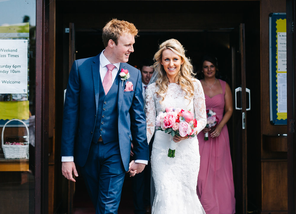 The bride and groom at A Great Hall at Mains for a wedding, Relaxed and calm wedding.
