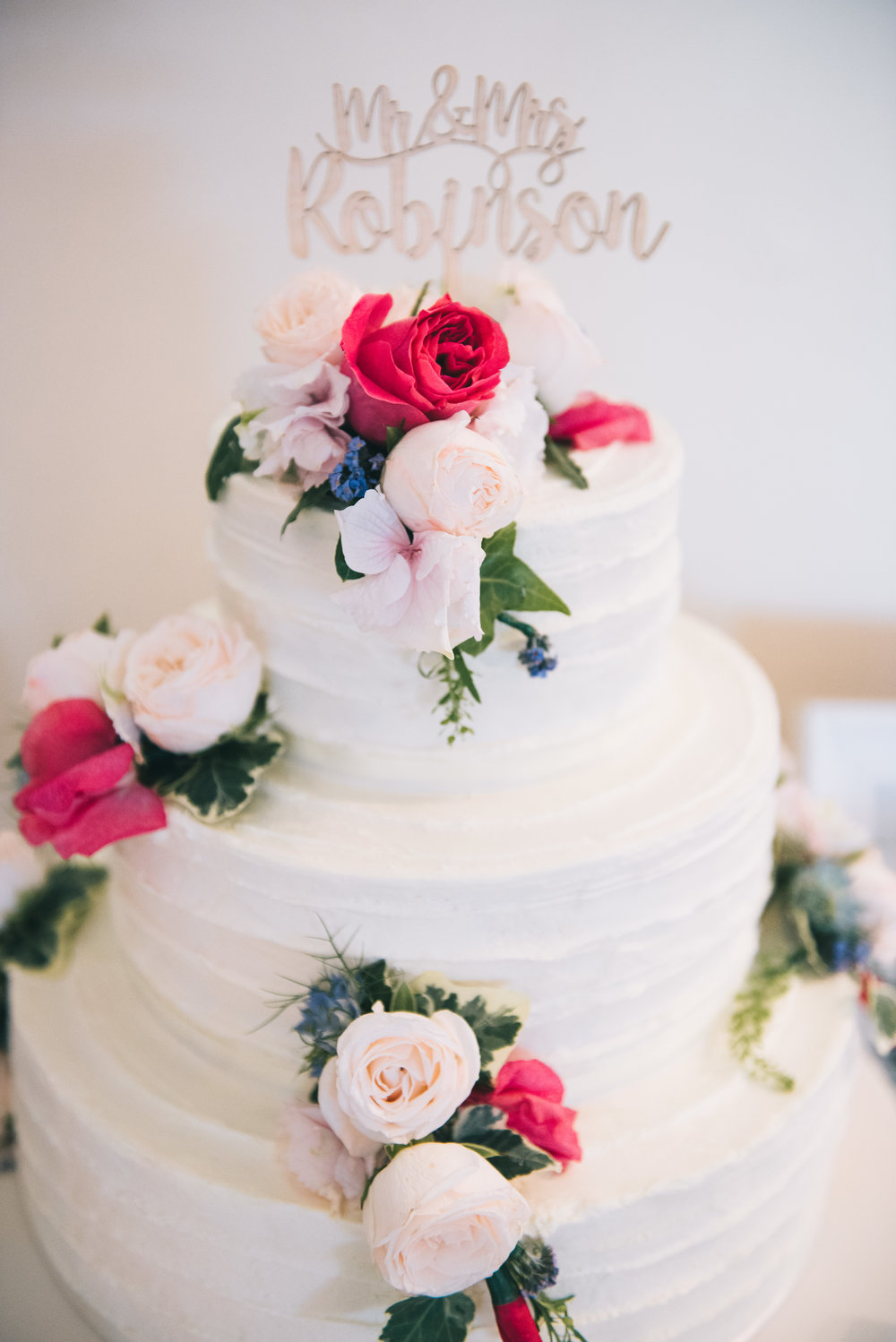 The wedding cake, Pink and white themed wedding.