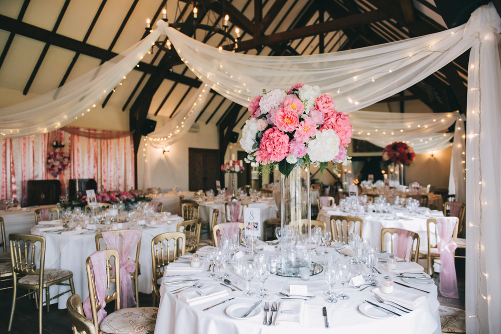 Table decorations for the pastel wedding, Wedding at A Great Hall at Mains.