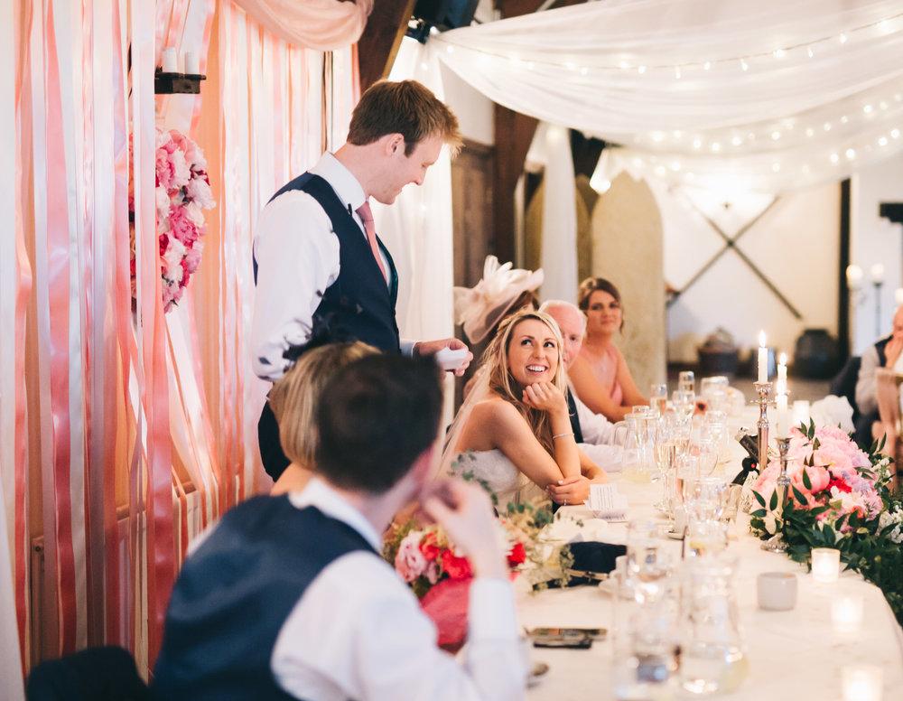 Wedding speeches, Pastel themed wedding.