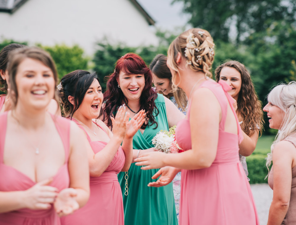 All the bridesmaids together, documentary wedding photographer.