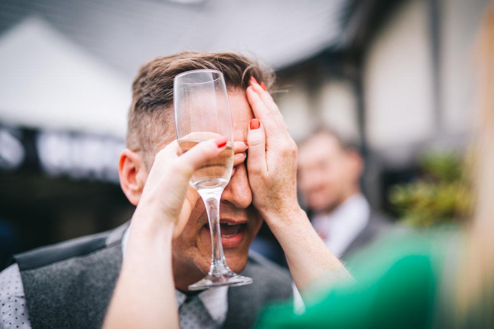 Wedding gusts messing around, Documentary wedding photography.
