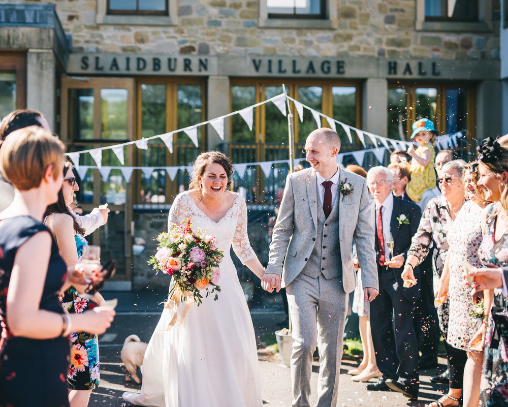 confetti outside Slaidburn village hall