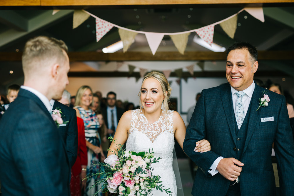 walking down the aisle - documentary wedding photographer lancashire