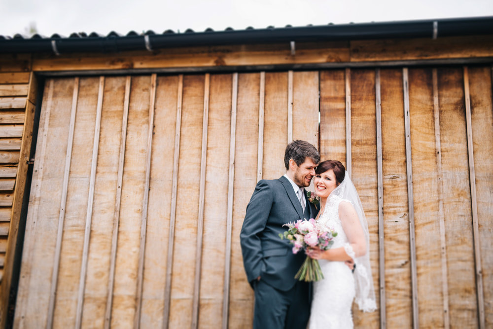 bride and groom at Hyde bank farm