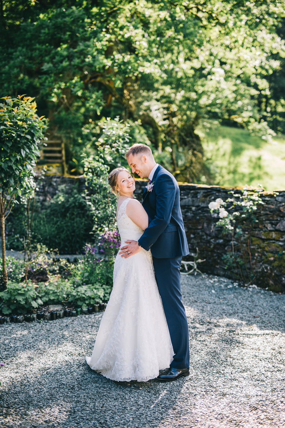 Lake District Wedding Photography - Cote How wedding venue - couple laughing