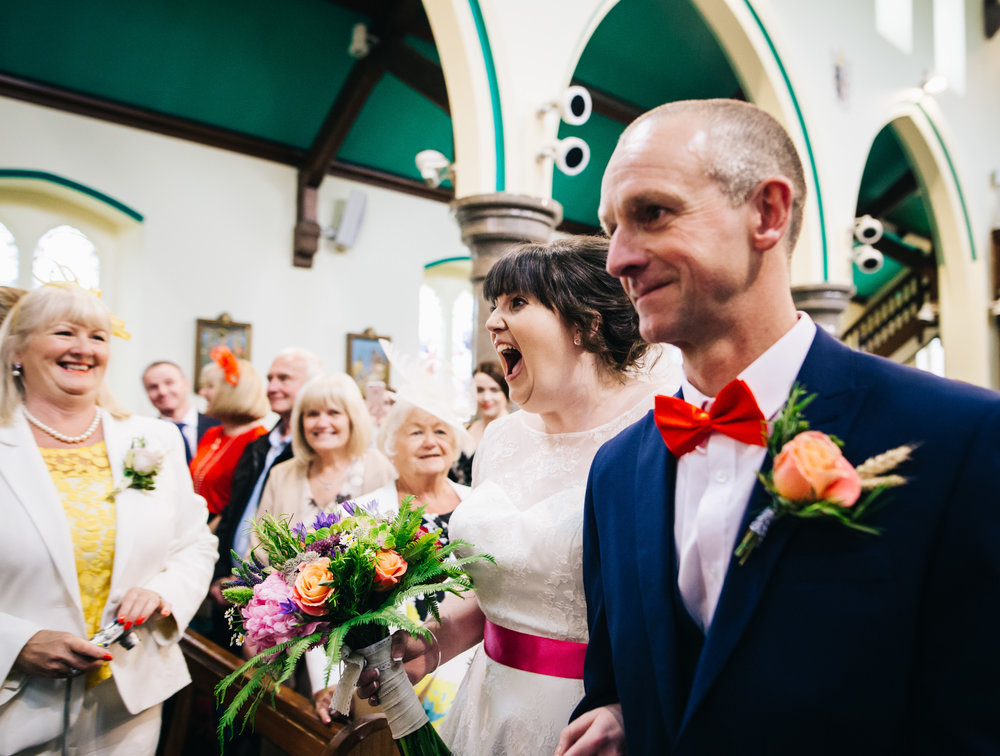 bride's reaction to seeing her groom for the first time - north west wedding photographer