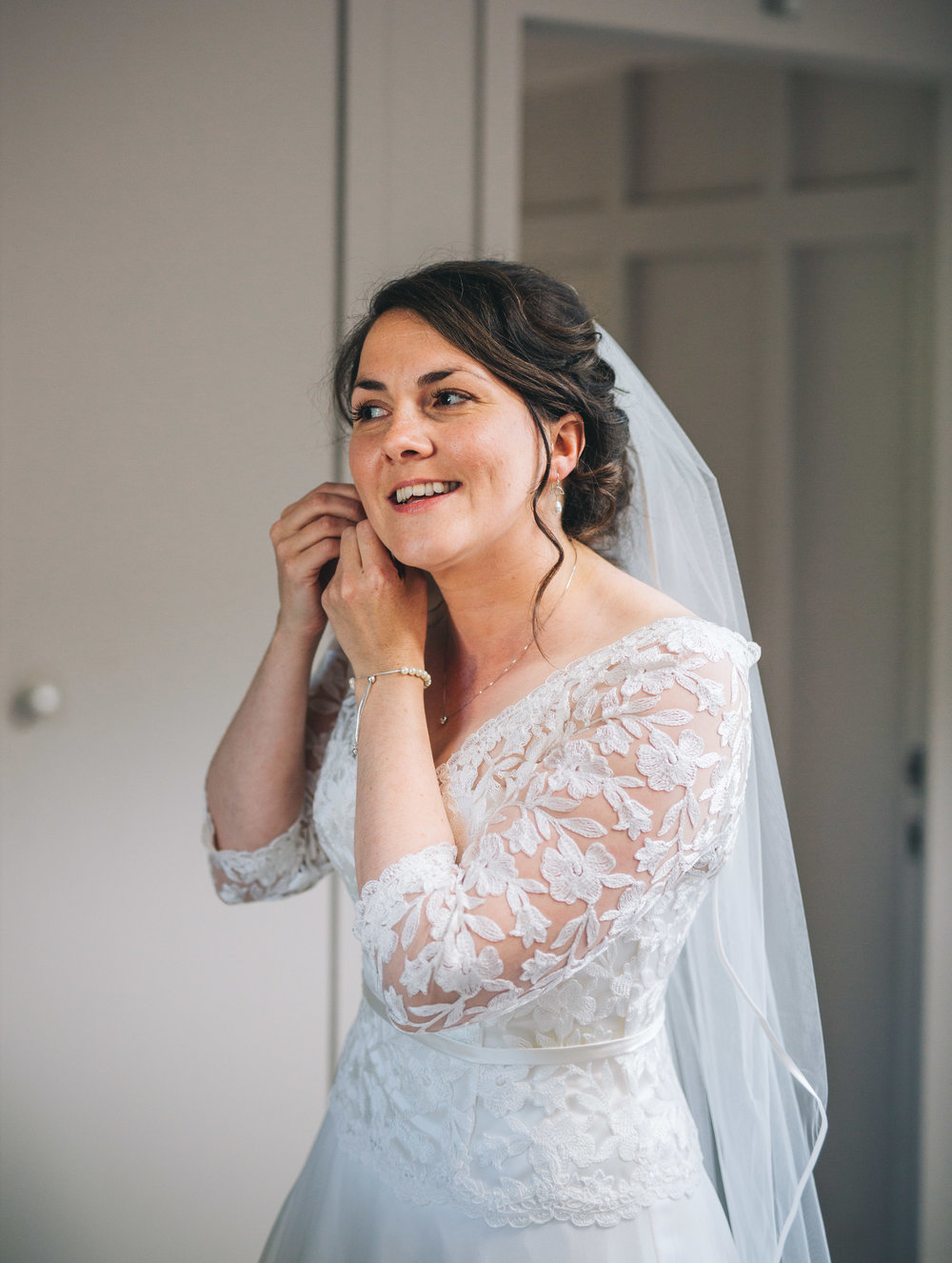 The lovely bride getting ready, Ribble Valley Village Hall Wedding.