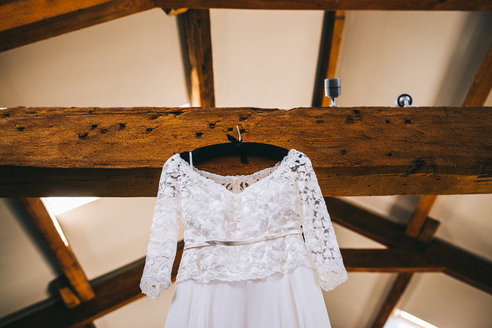 The brides wedding dress, Ribble Valley Wedding.