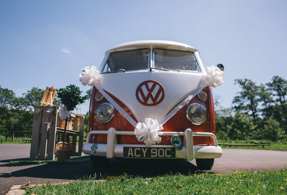 The wedding camper van. Rustic themed wedding in the Ribble Valley.