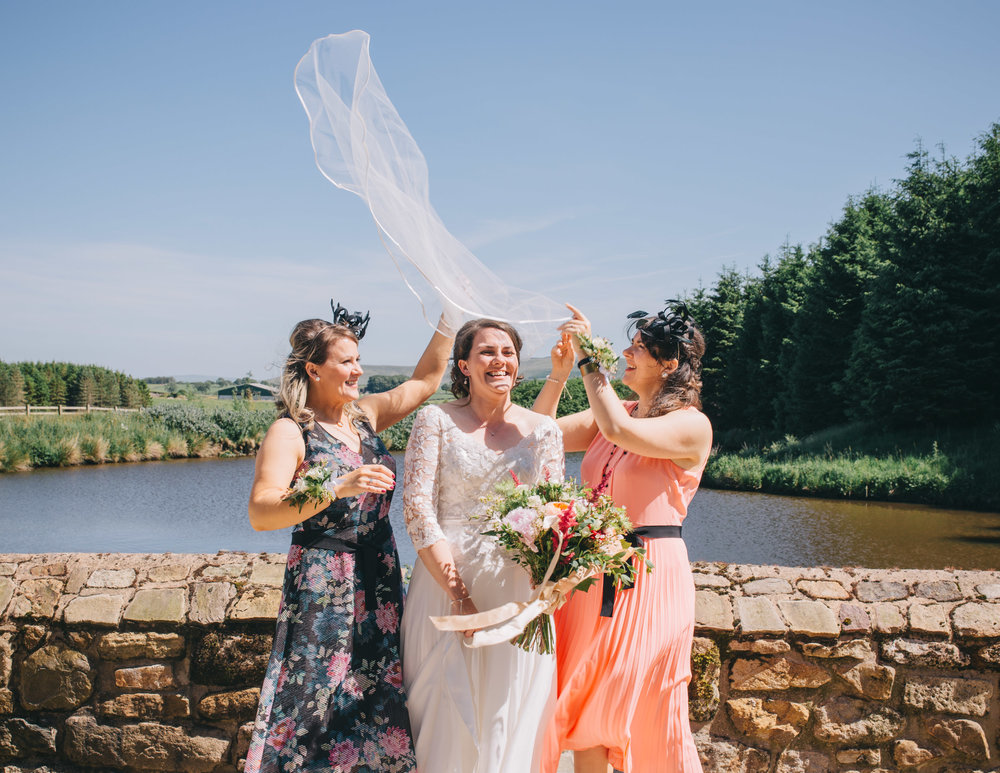 The bride and her friends, Documentary wedding photographer from Lancashire.