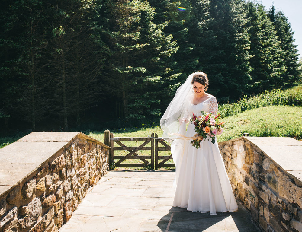 The bride at Ribble Valley Village Hall, Rustic themed wedding.