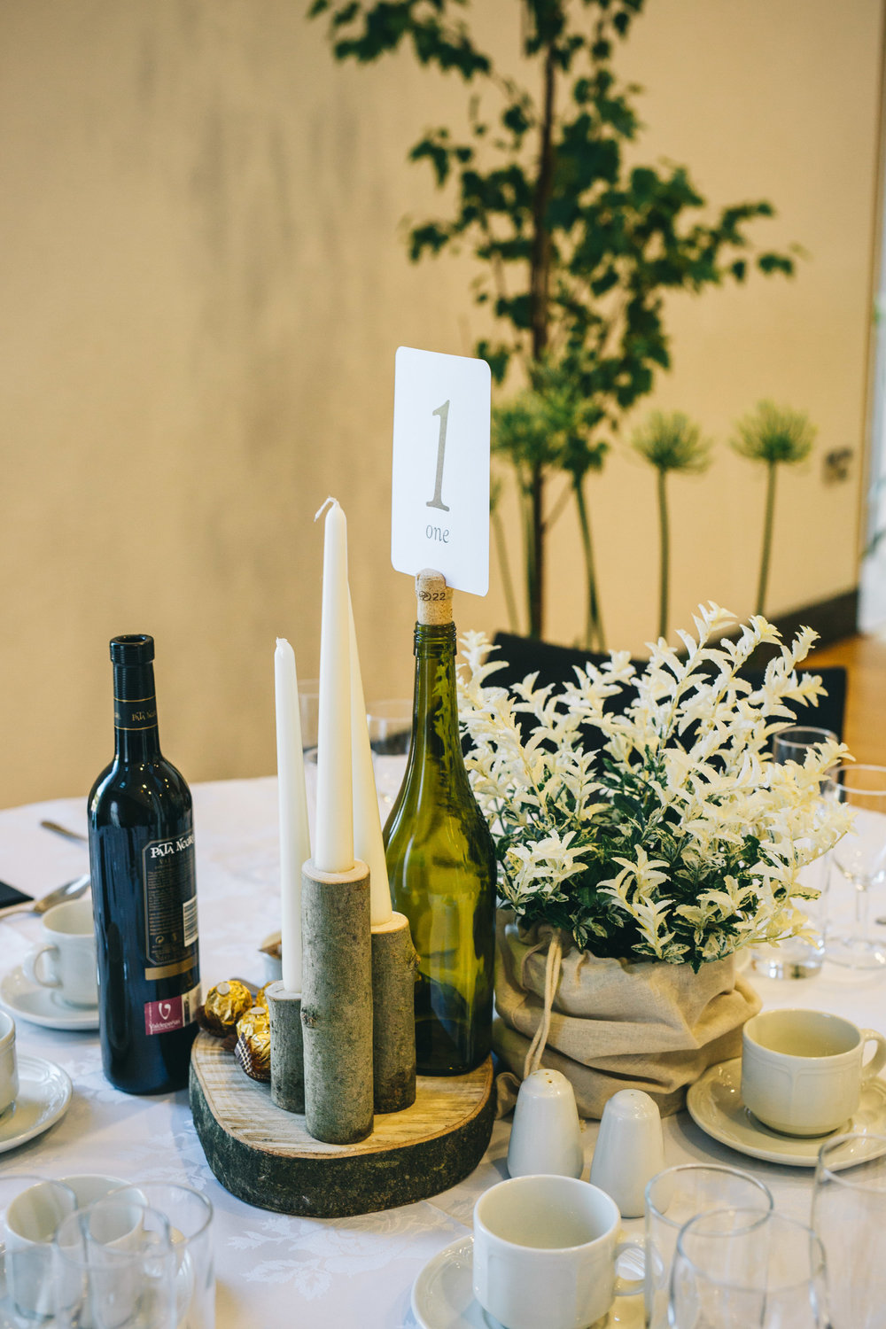 Hand-made table decoration, Rustic themed wedding in the Ribble Valley.