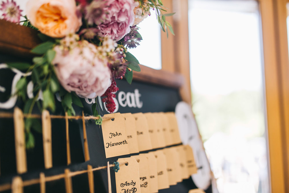 The seating chart decorations, Hand-made wedding decoration, Creative wedding photographer from Lancashire.